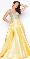 Mac Duggal Scooped Crystalized Satin Ball Gown