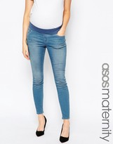 Asos Ridley Skinny Ankle Grazer Jean In Sabrina Rich Blue Wash