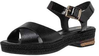 Fendi Black Lizard Embossed Leather Hydra Cross Strap Espadrille Platform Sandals Size 38.5