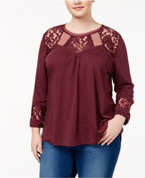 Almost Famous Trendy Plus Size Knit Illusion Top