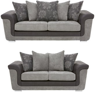 Vidal Fabric and Faux Snakeskin 3 + 2 Seater Scatter Back Sofa Set (Buy and SAVE!)