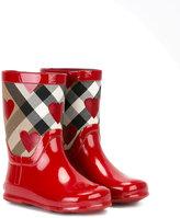 Burberry checked print rain boots - kids - Cotton/rubber - 26