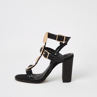River Island Womens Black embellish gladiator block heel sandals
