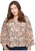 Lucky Brand Plus Size Printed Mix Top