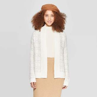 A New Day Women's Long Sleeve Ribbed Cuff Tweed Cardigan
