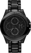 Karl Lagerfeld Unisex Chronograph Black Ion-Plated Stainless Steel Bracelet Watch 44mm KL1401