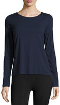 Wolford Pure Long-Sleeve Pullover Tee, Midnight