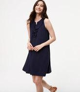 LOFT Ruffled Lace Up Swing Dress