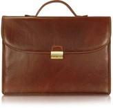 Chiarugi Men's Handmade Brown Leather Single Gusset Briefcase