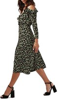 Topshop Women's Busy Garden Ruffle Cold Shoulder Wrap Midi Dress
