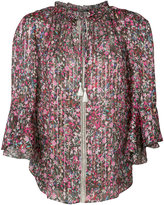 Elie Tahari pleated floral blouse - women - Silk/Metal (Other) - XS