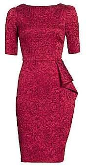 Teri Jon by Rickie Freeman Women's Jacquard Floral Elbow-Sleeve Sheath Dress
