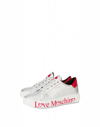 Love Moschino Laminated Nappa Leather Sneakers With Logo Woman Silver Size 35 It - (5 Us)