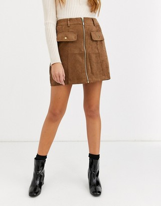 QED London zip front cord mini skirt in tan