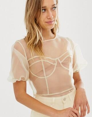 Asos Design DESIGN sheer organza short sleeve top with stitch detail-Cream