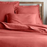 Crate & Barrel Lino II Coral Linen Duvet Covers and Pillow Shams