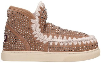 Mou Eskimo Sneaker Low Heels Ankle Boots In Rose-pink Suede