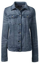Lands' End Women's Long Sleeve Denim Jacket-Black
