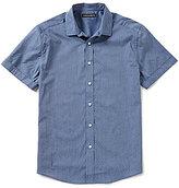 Vince Camuto Slim-Fit Broken Stripe Dobby Short-Sleeve Woven Shirt