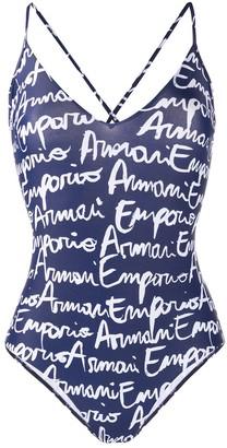 Emporio Armani Logo Print Crisscross Back Swimsuit