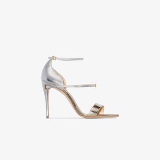 Jennifer Chamandi silver and gold Rolando 105 leather sandals