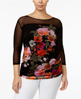 INC International Concepts Plus Size Sheer-Illusion Floral-Print Top, Only at Macy's