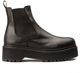 Jonak Ranie Leather Chelsea Ankle Boots with Chunky Heel