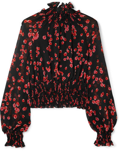 Giambattista Valli Ruffled Floral-print Silk-crepe Top - Black