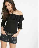 Express ruffle halter neck blouse