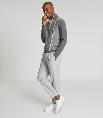 Reiss Mosel - Zip Neck Stripe Jumper in Grey/blue