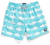 Boy's Tom & Teddy 'Fish Pattern' Swim Trunks