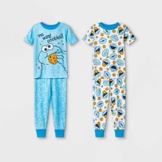 Sesame Street Toddler Boys' 4pc Cookie Monster North Pajama Set -