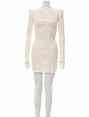 Balmain Tie Neck Mini Dress