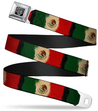"""Buckle Down Buckle-Down Unisex-Adults Seatbelt Belt Mexico XL Flag Distressed Painting 1.5"""" Wide - 32-52 Inches"""