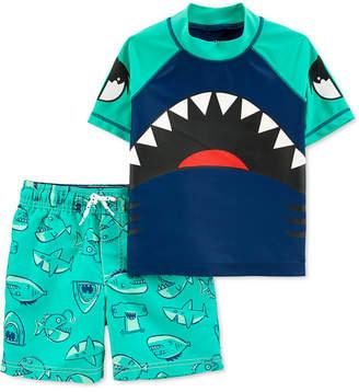 Carter's Carter Toddler Boys 2-Pc. Shark Rash Guard & Swim Trunks Set