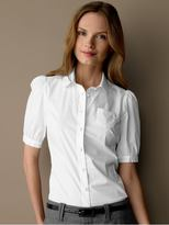 Cotton-blend puff sleeve blouse - White