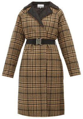 Ganni Belted Checked Wool-blend Coat - Womens - Black Brown