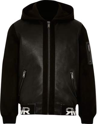 River Island Boys Black faux leather hooded bomber jacket