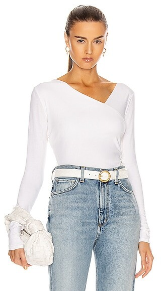 Enza Costa Brushed Supima Cotton Asymmetrical Neck Long Sleeve Top in White
