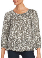 MICHAEL Michael Kors Lace-Print Long Sleeve Blouse