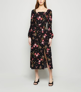 New Look Floral Square Neck Long Sleeve Dress