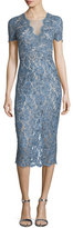 Jenny Packham Short-Sleeve Lace Midi Cocktail Dress, Denim Blue