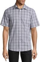Claiborne Short Sleeve Plaid Button-Front Shirt