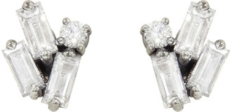 Suzanne Kalan Cluster Baguette and Round Diamond Firework Stud Earrings - White Gold