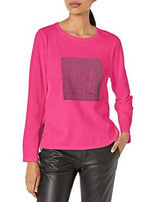 Armani Exchange A|X Women's Long Sleeved Scoop Neck Top with Illusion Square Graphic