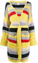 Fine Edge striped belted cardigan
