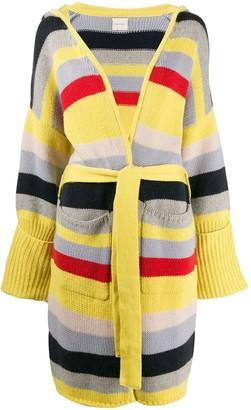 Fine Edge striped belted cardigan
