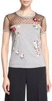 RED Valentino Floral-Embroidered Point d'Esprit-Inset T-Shirt, Black