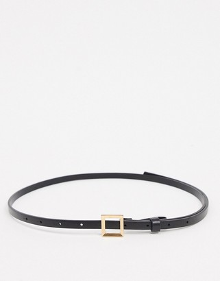 ASOS DESIGN super skinny waist and hip belt with square buckle in black