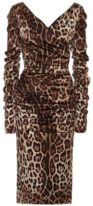 Dolce & Gabbana Leopard stretch silk satin dress